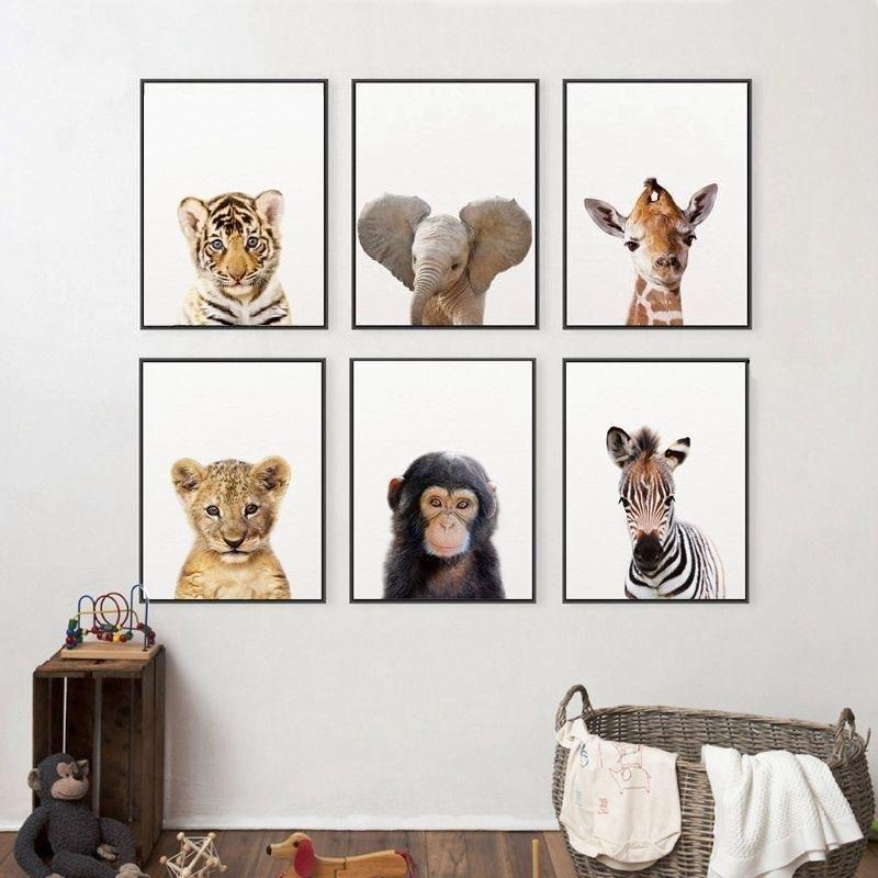 Affiche Bebes Animaux De La Savane Peinture Sur Toile Pour Enfants Decoration Animale Toile D Elephant