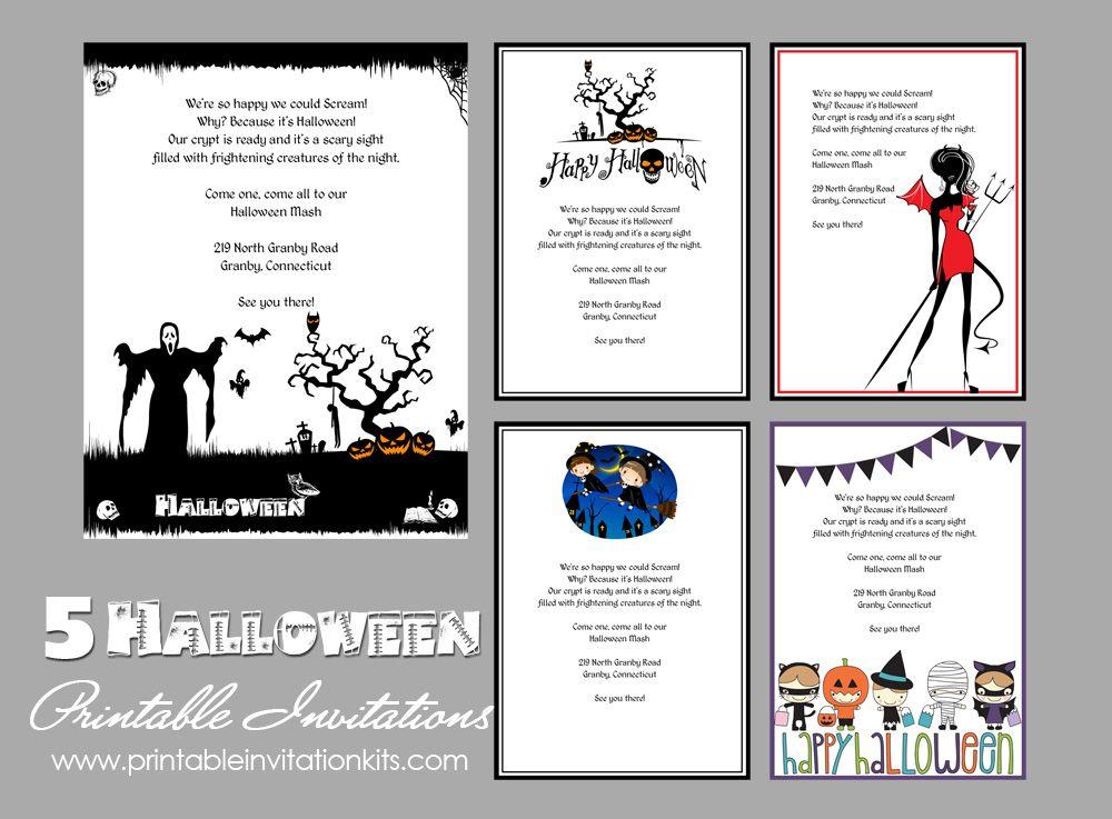 5 Free Halloween Printable Templates Free Halloween Invitations Free Halloween Invitation Templates Halloween Party Invitation Template