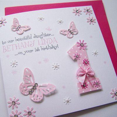 Handmade Birthday Card Pink 1st Birthday Butterflies Daughter Keepsake Girl Birthday Cards Card Making Birthday Birthday Cards