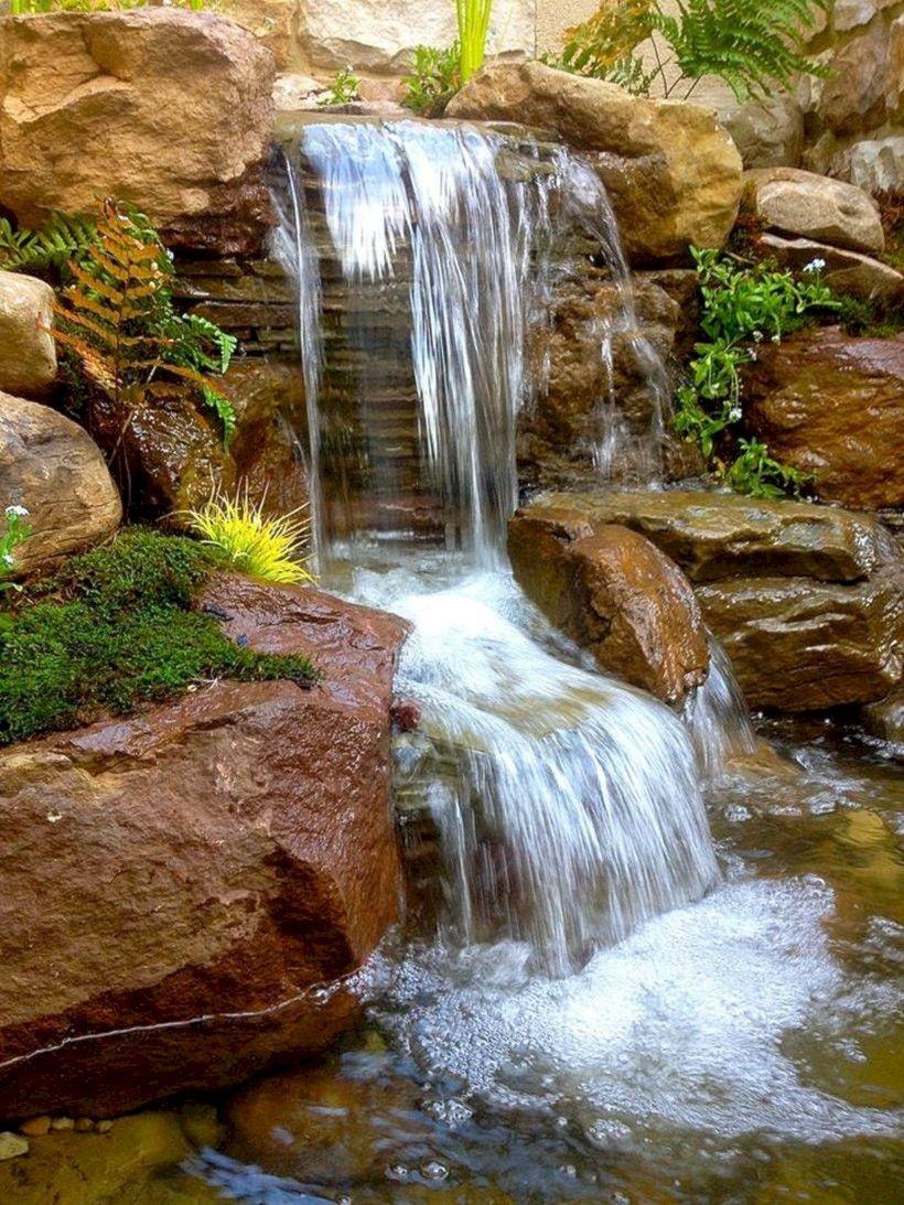 stunning garden waterfall | 55+ Stunning Ideas Garden Pond Waterfall Designs | Outdoor ...