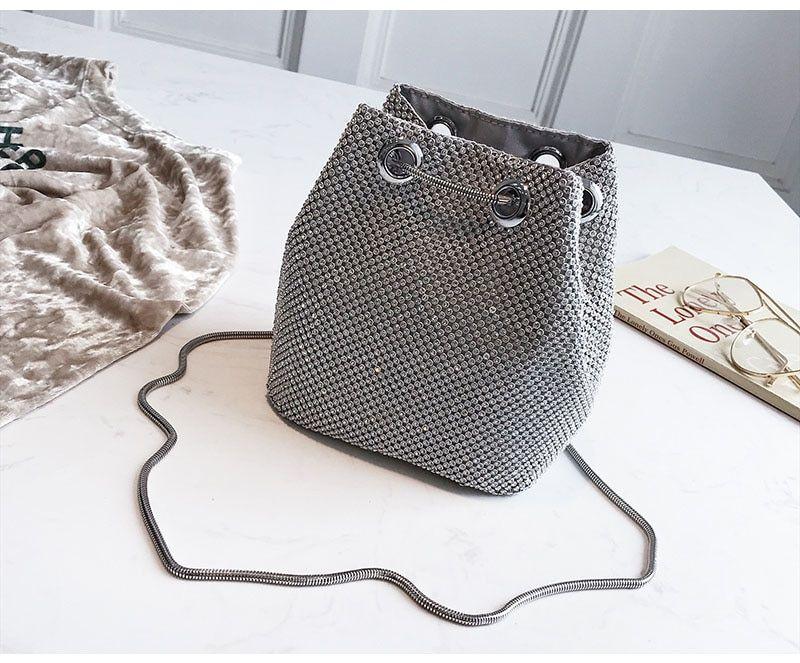 550833122a Aliexpress.com : Buy Women Mini Bucket Bag Rhinestone Chain ...