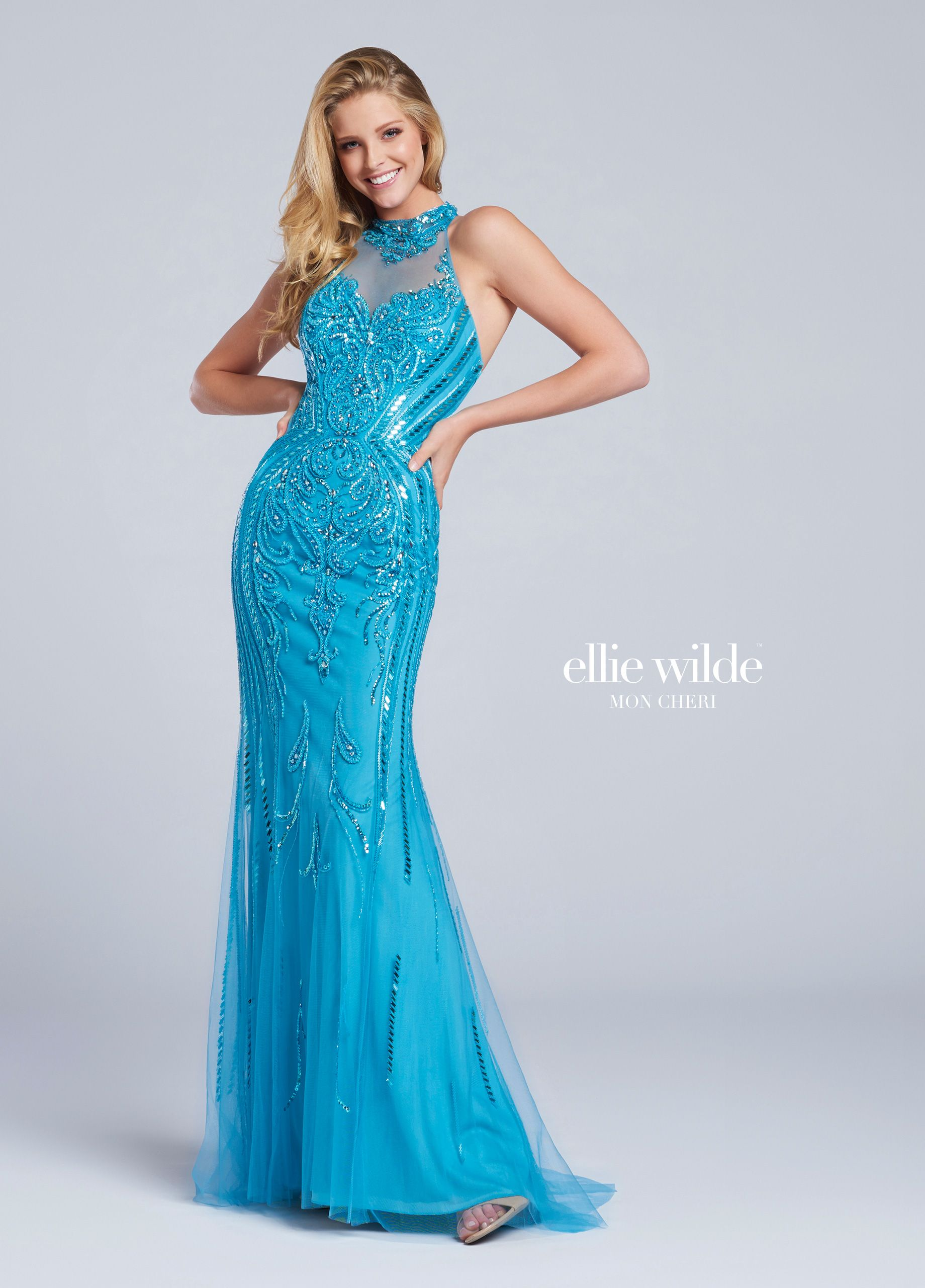 Sleeveless Hand-beaded Tulle Fit & Flare Prom Gown - EW117099 ...