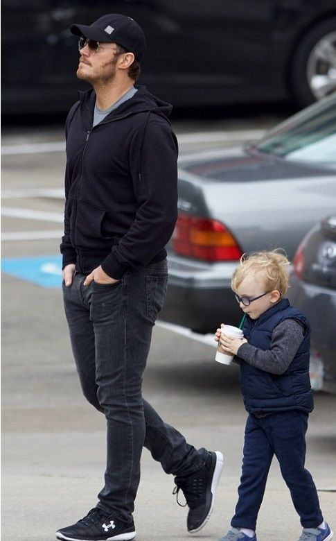 chris pratt with his son jack in atlanta on tuesday february 7