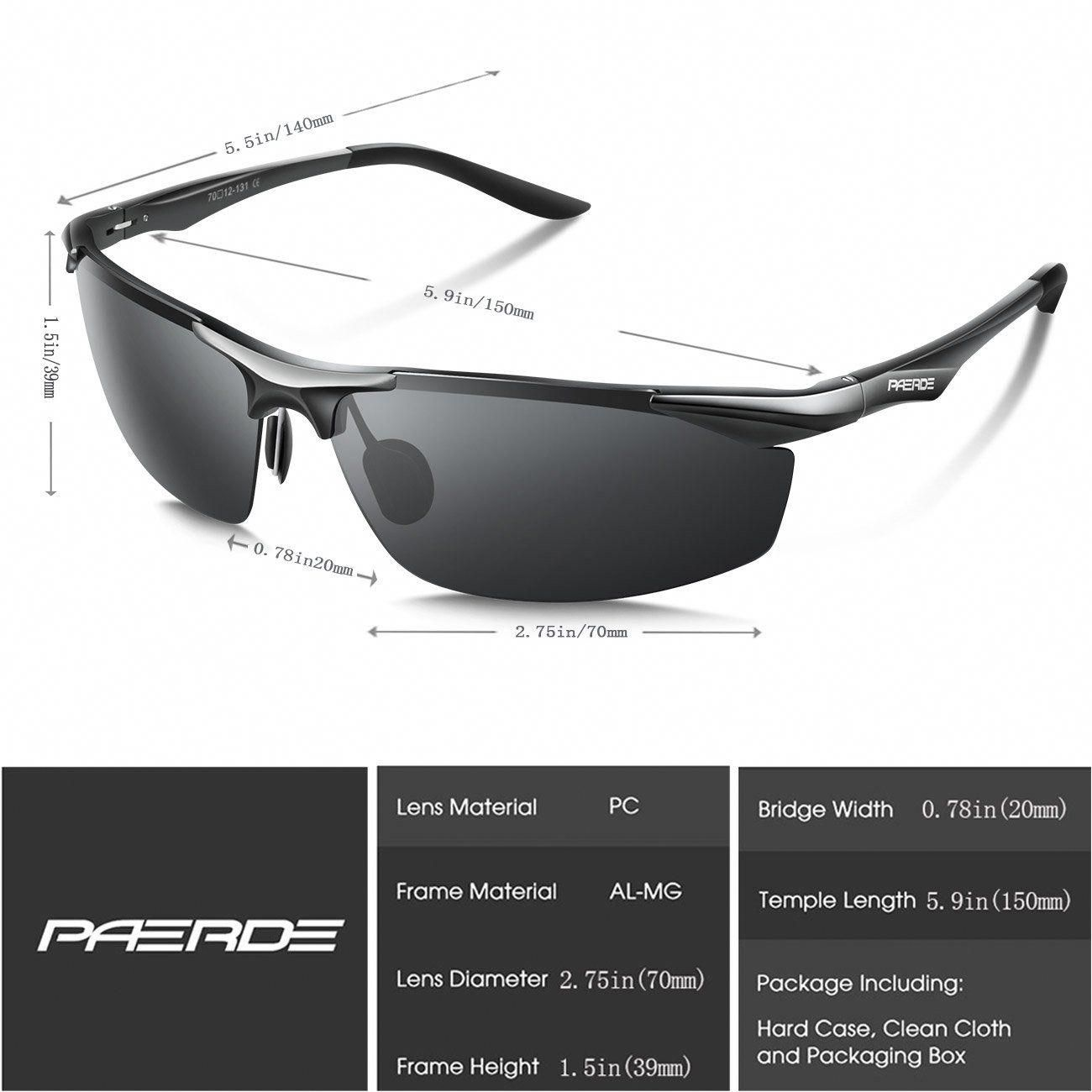 6610856a4f3 Men Golf Clothing - PAERDE Mens Sports Style Polarized Sunglasses for Men  Driving Fishing Cycling Golf Running AlMg Metal Frame Ultra Light Glasses  Black   ...