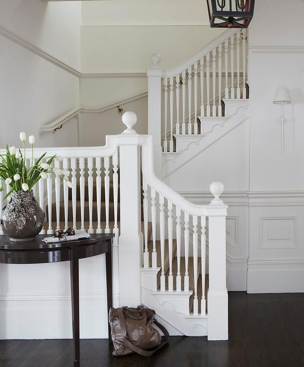 Decorating A Staircase Ideas Inspiration: All White Staircase With Half Moon Foyer Table
