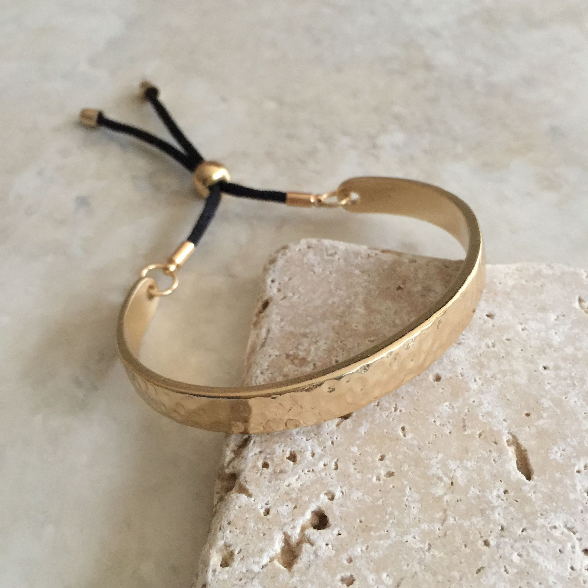 Bar and rope cuff bracelet hammered gold tone finish buy gold