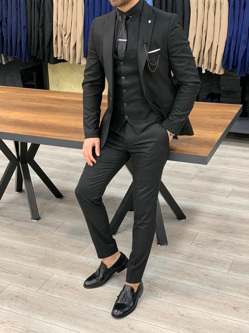 Men Suits Black 3 Piece Slim Fit One Button Wedding Groom Etsy In 2021 Black Suit Men Men Suits Black Slim Fit Suit Men [ 1059 x 794 Pixel ]
