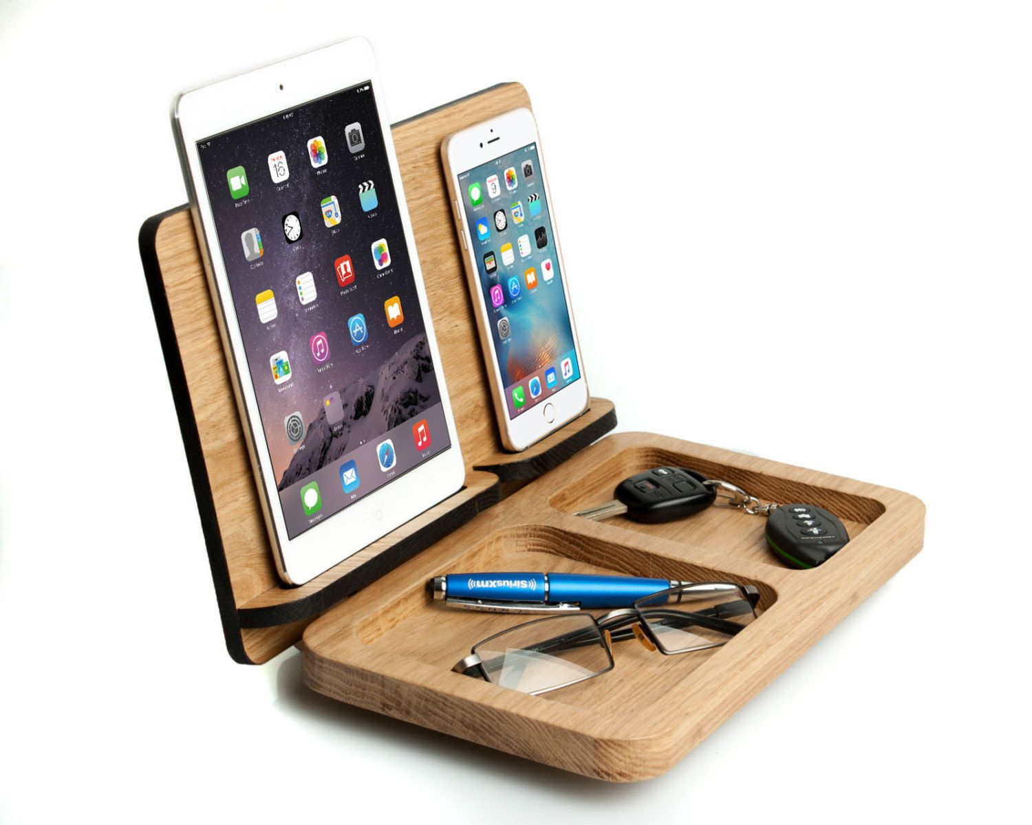 mens gift ipad mini iphone 7 docking station personalized for him husband gift cell wooden. Black Bedroom Furniture Sets. Home Design Ideas