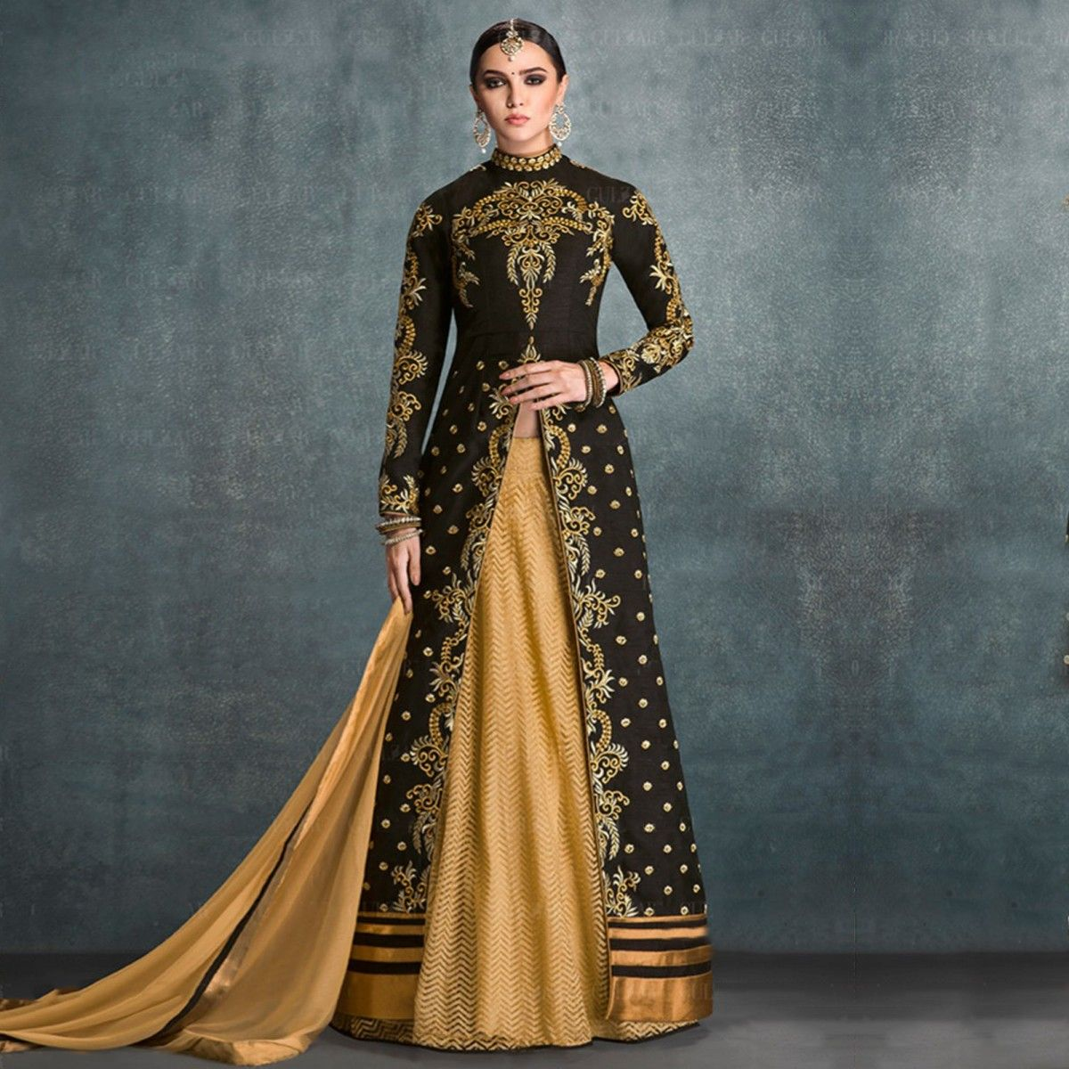 Buy Black High Neck Anarkali - Online Women Ethnic Wear at ...