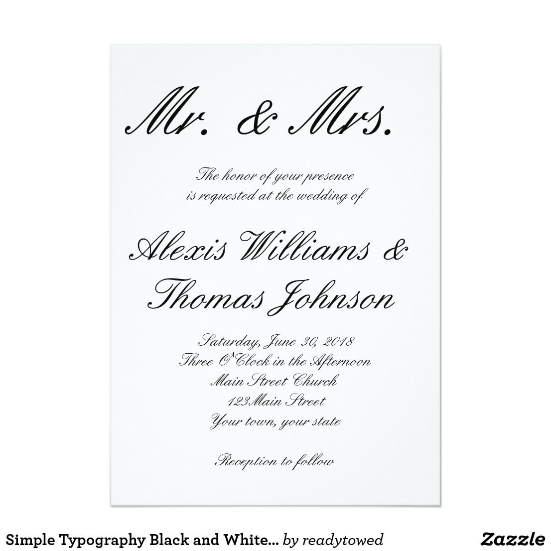 Simple Typography Black and White Wedding Invite   Wedding and Weddings