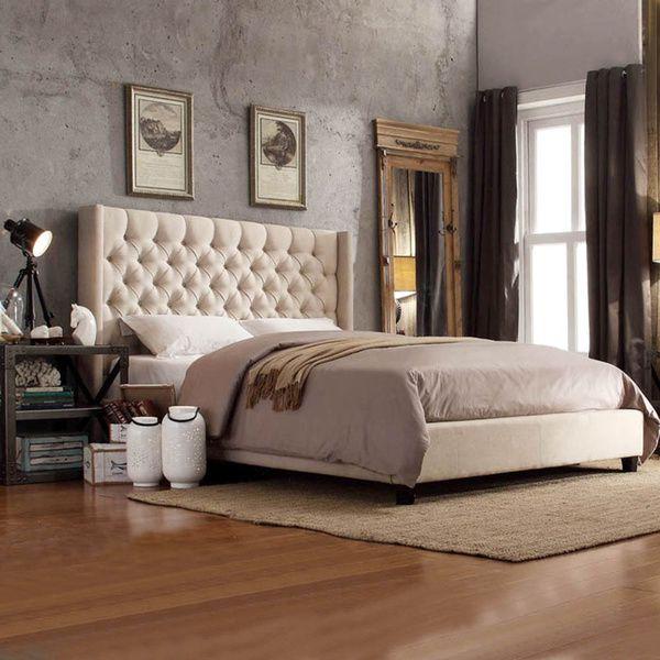 inspire q naples beige linen wingback button tufted platform bed overstock shopping great deals