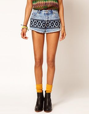 ASOS | ASOS Vintage Denim Hotpants with Embroidered Tribal