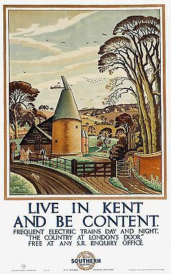 Live in Kent and be Content 1927 vintage travel poster reprint
