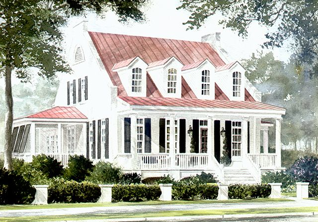 Front Exterior Rendering Southern Living House Plans Southern House Plans Country House Decor