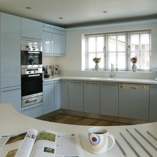 Curved pale blue kitchen | Kitchens, Kitchen pictures and Kitchen colors