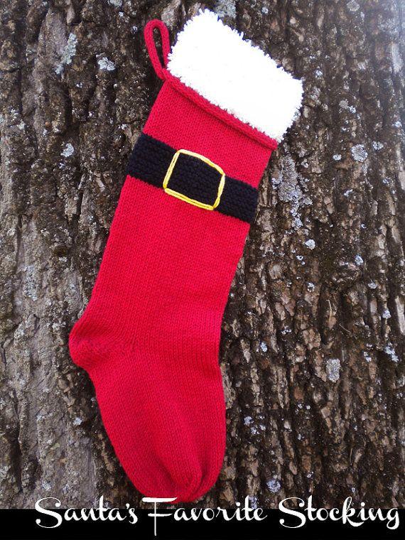 Santa's Favorite Stocking Knitting Pattern   Etsy in 2020 ...