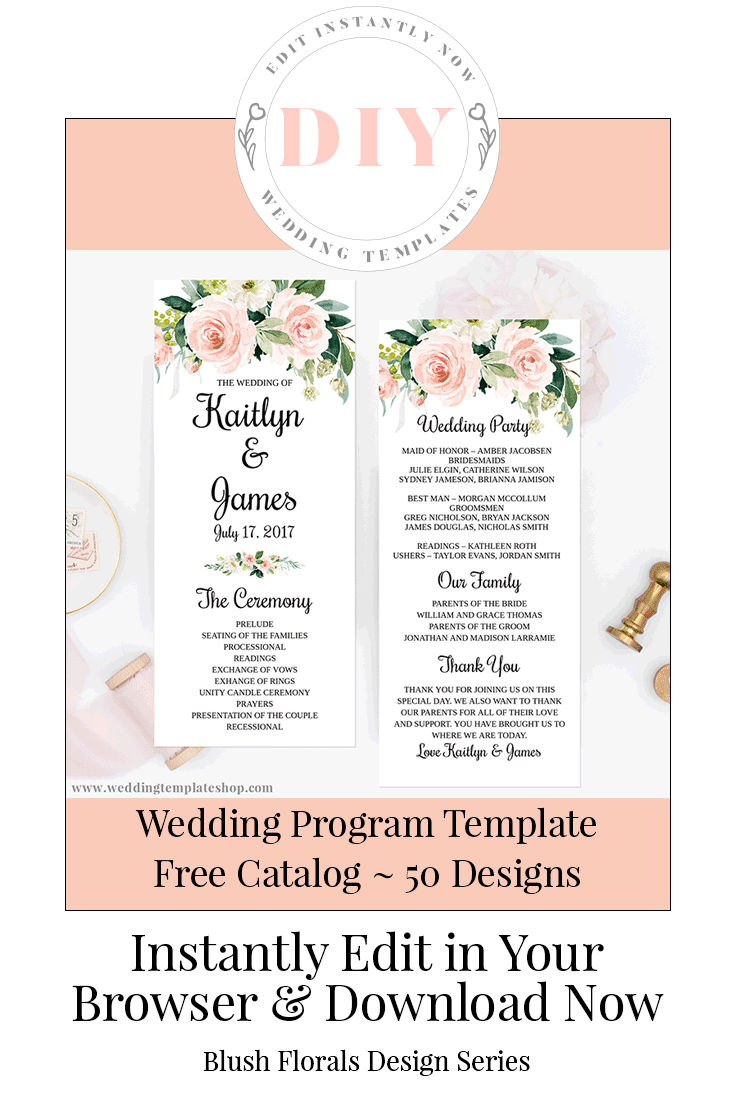 Instantly Edit Online Wedding Program Template In The Blush Fls Design Series Double Sided Tea Length