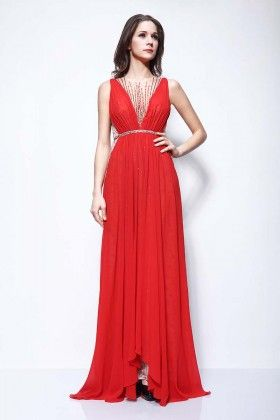 Unique Sleeveless Beaded Red Chiffon A line Long Evening ...
