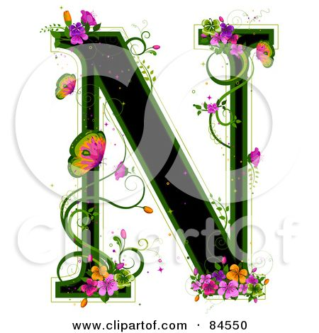 Black Capital Letter N Outlined In Green, With Colorful ...