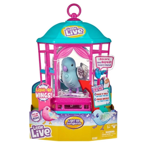 Little Live Light Up Song Bird in Cage Snow Gleam