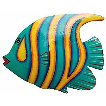 Amazon Com Hand Chiseled And Painted Tropical Metal Art Wall Decor Fish Home Kitchen Fish Wall Art Metal Fish Wall Art Fish Painting