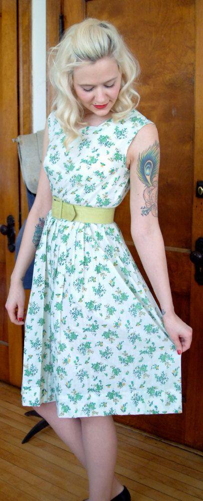 1950s Dress // Greener Pastures // Vintage Day by dethrosevintage, $44.00