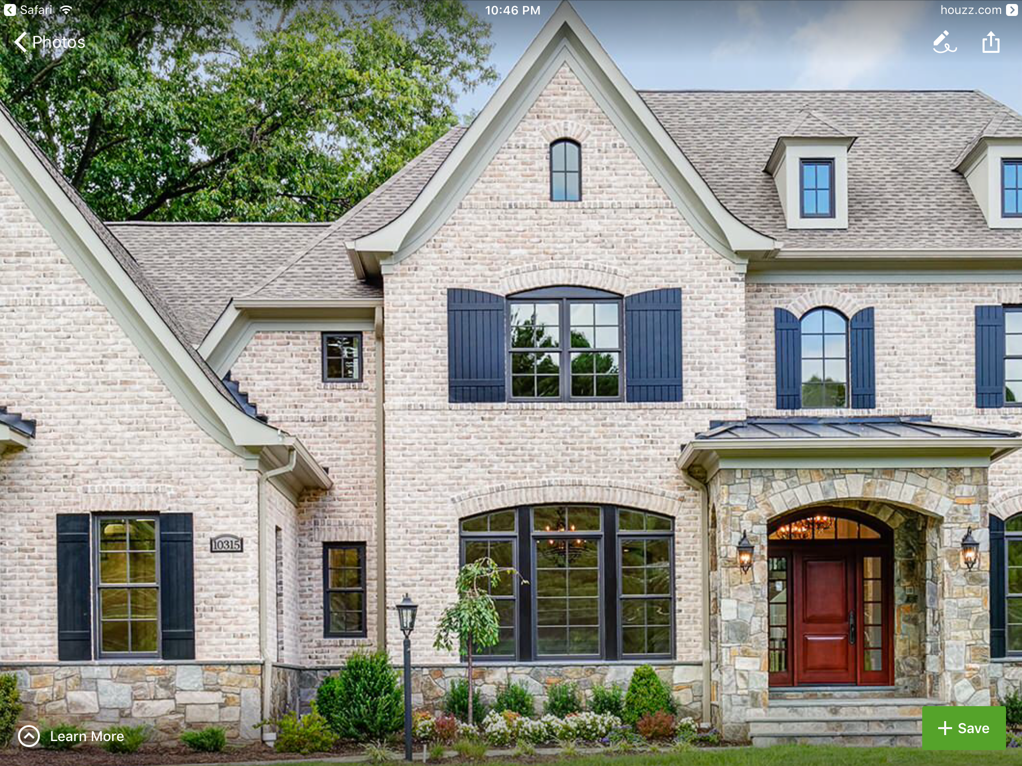 Shutter And Window Colors With Light Brick We Like Brick Exterior House Exterior Brick Brick Farmhouse