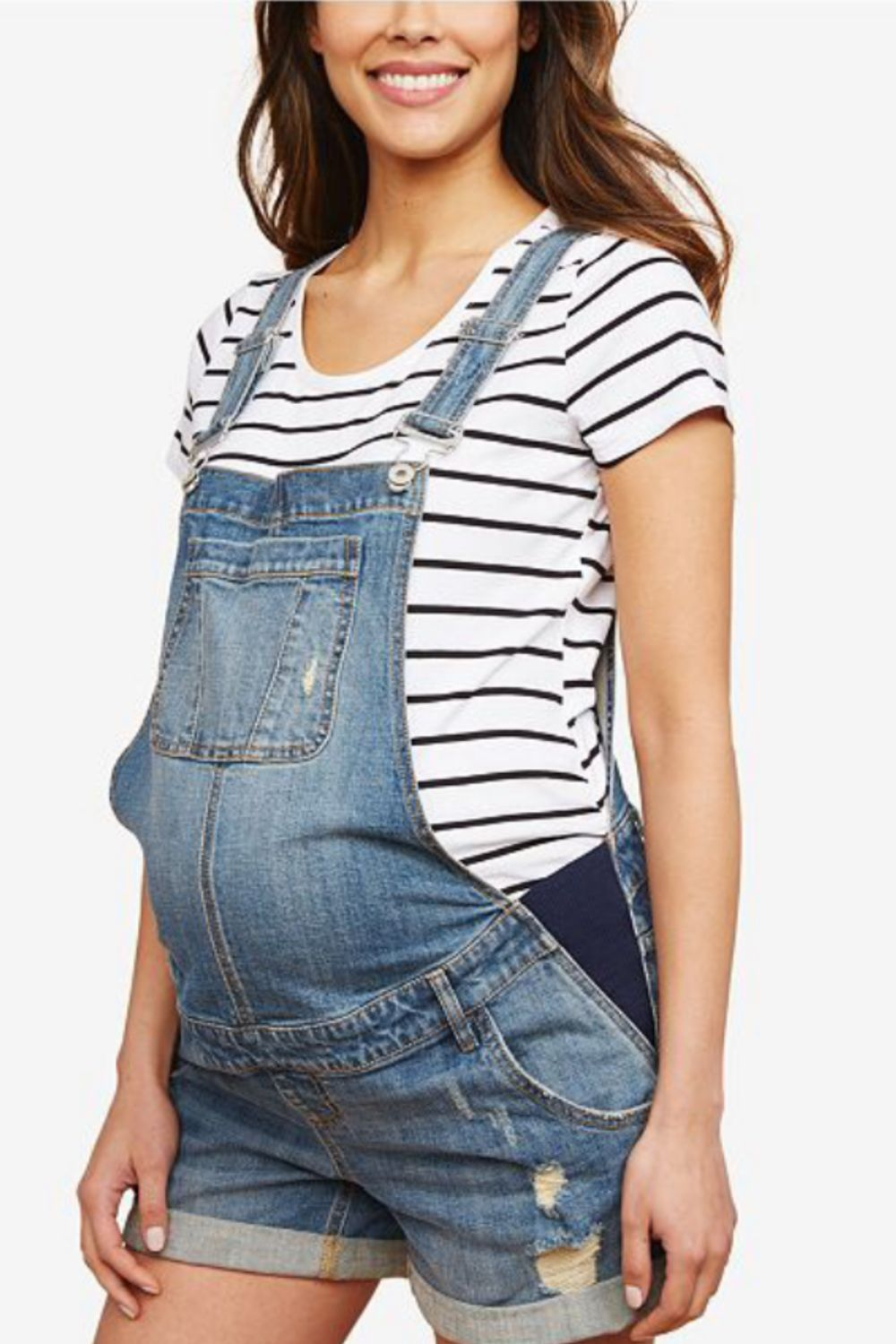 beb23da242055 Go old school in Motherhood Maternity's need-now denim overalls, complete  with stretch panels