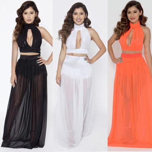 2017 2015 New Womens Black White Orange Crop Top And Skirt Set ...