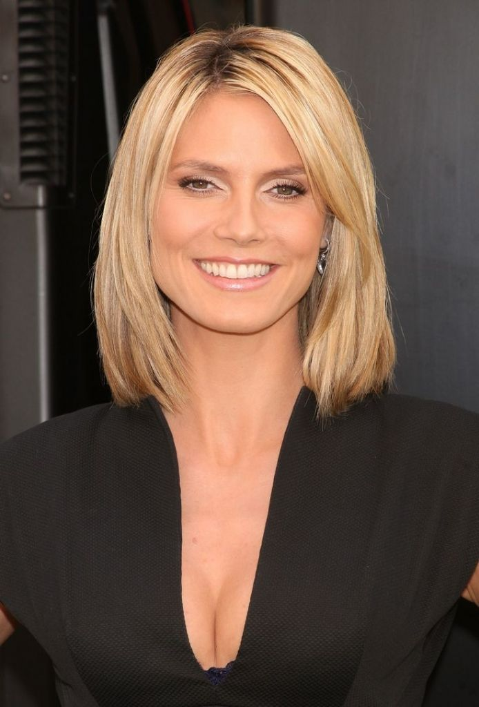 Medium Length Blunt Cut Hairstyle 22 Flattering Hairstyles For Round ...
