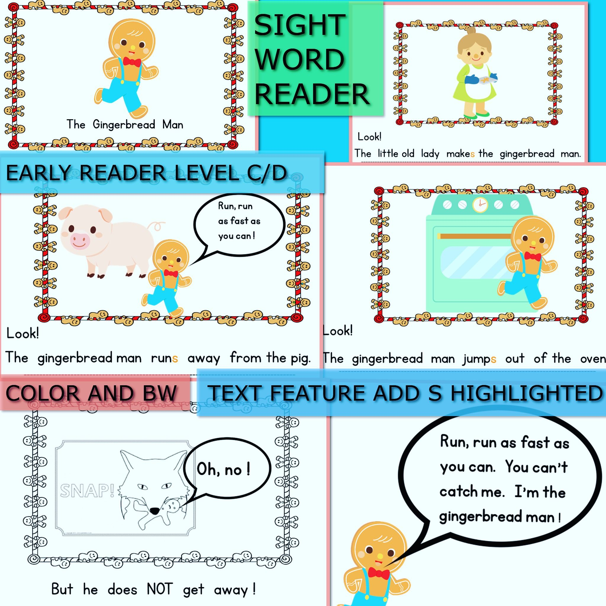 Gingerbread Man Level C D Lor And Bw Home Copy D S