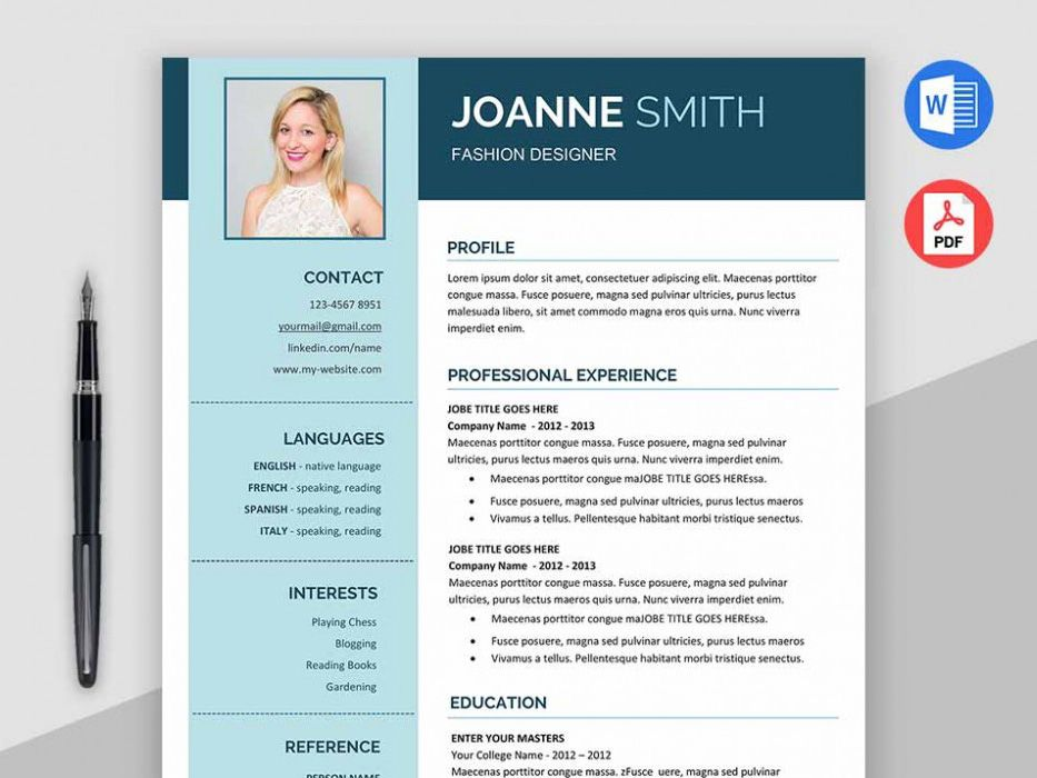 Here is free fashion designer resume template with