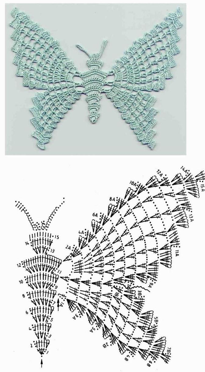 Lovely large crocheted butterfly pattern diagram. | mabel tejidos ...