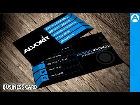 Professional Business Card Design Blue D Project In Coreldraw