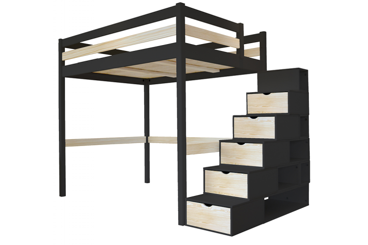 lit mezzanine sylvia avec escalier cube bois abc meubles. Black Bedroom Furniture Sets. Home Design Ideas