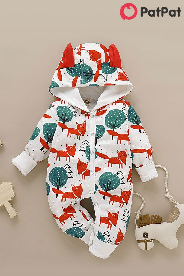 Baby 3D Ohren Design Fox Allover Langarm Overall