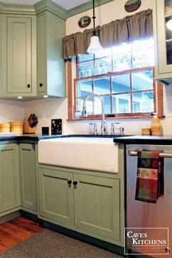 Sage Green Country Cottage Kitchen With Farmhouse Sink Transitional Other Metro By Caves Kitchens