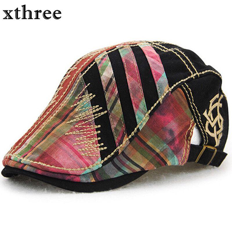 803634f0f8277 Xthree gorra boina hombres sombreros para las mujeres viseras sombrero gorras  planas boinas