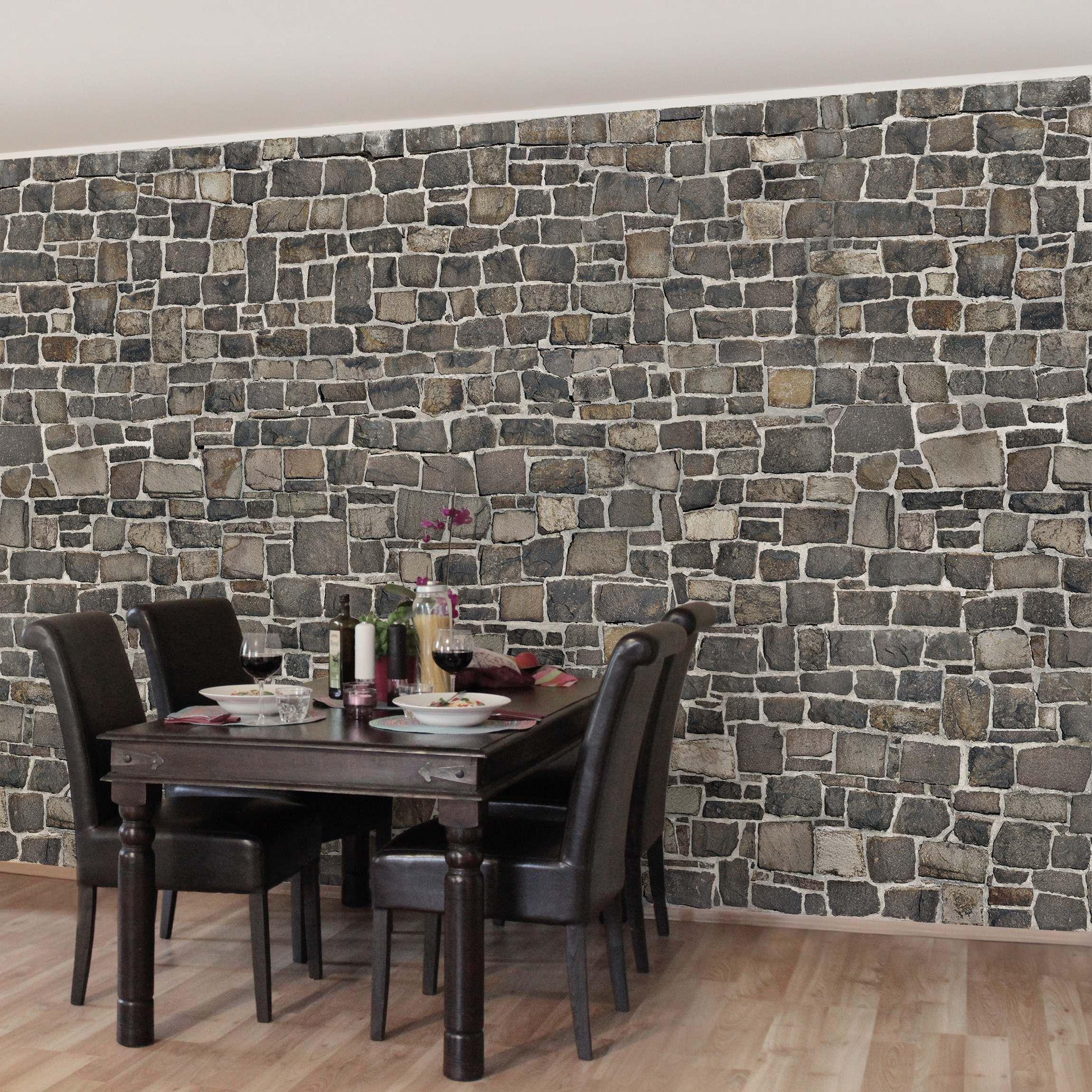 steintapete vliestapete premium bruchsteintapete natursteinwand fototapete breit - Wandgestaltung Mit Steintapete