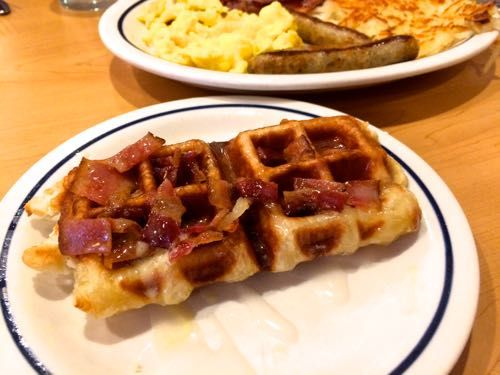 New at IHOP.. Bacon & Donut Glaze Waffle Pastry stuffed with toasted marshmallow