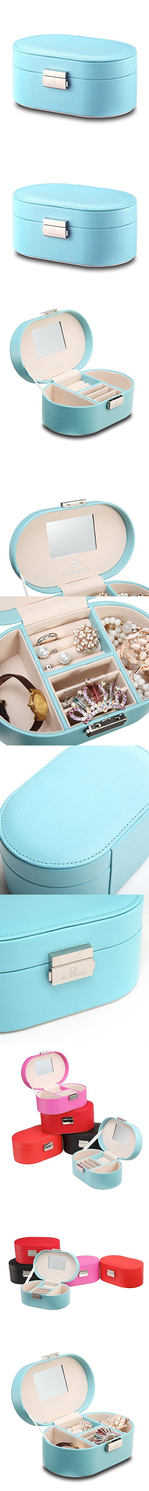 Vlando Small Faux Leather Mirror Travel Jewelry Box Organizer
