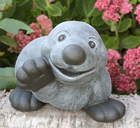 Steinfigur Maulwurf winkend in Schiefergrau, Figur, Deko, Garten - garten blumen gestaltung