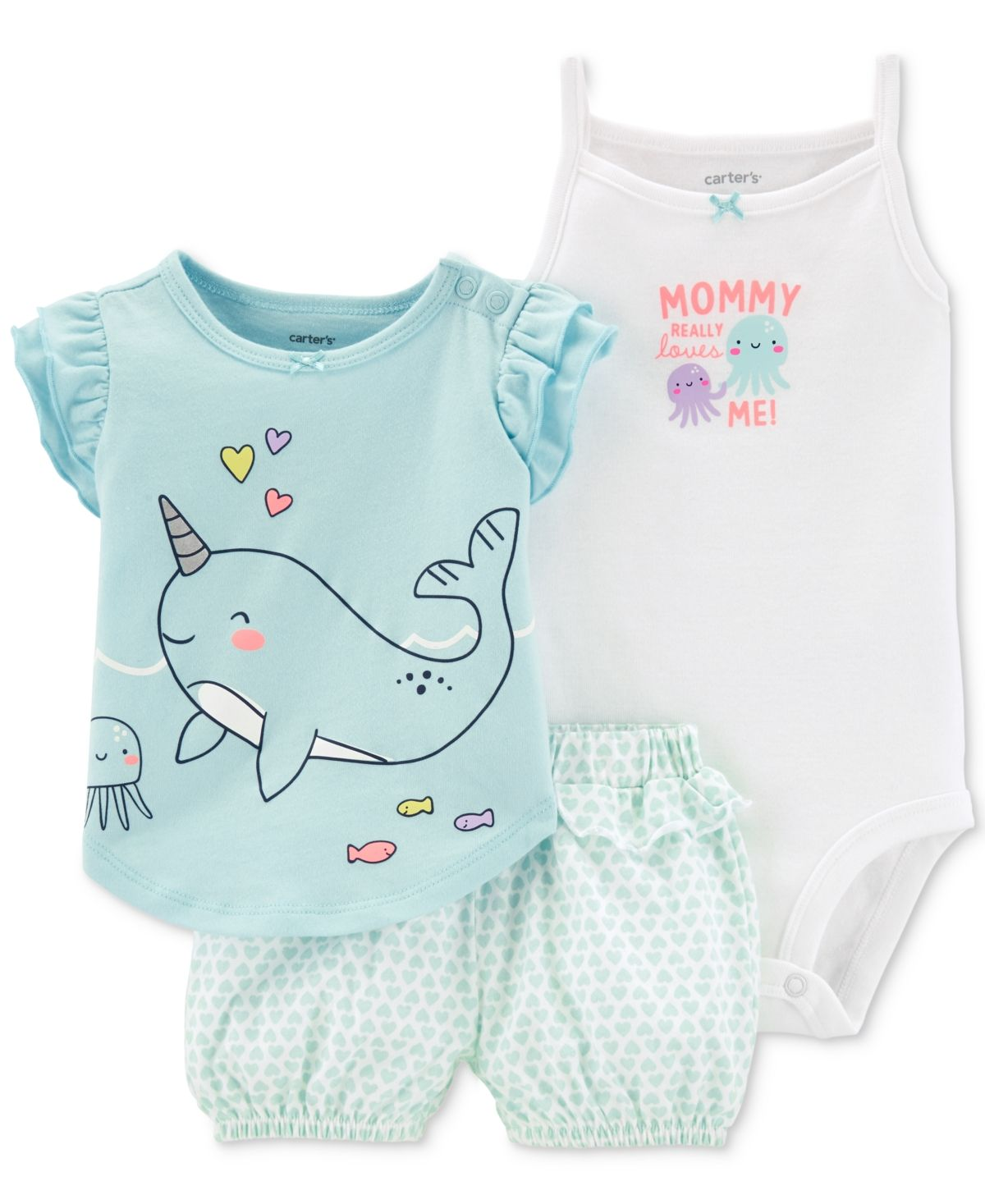 Bodysuit /& Shorts Set Mommy Loves Me NEW Carter/'s Baby Boys Whale 3-PC Shirt