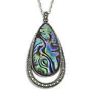 Sterling Silver Abalone & Marcasite Pendant