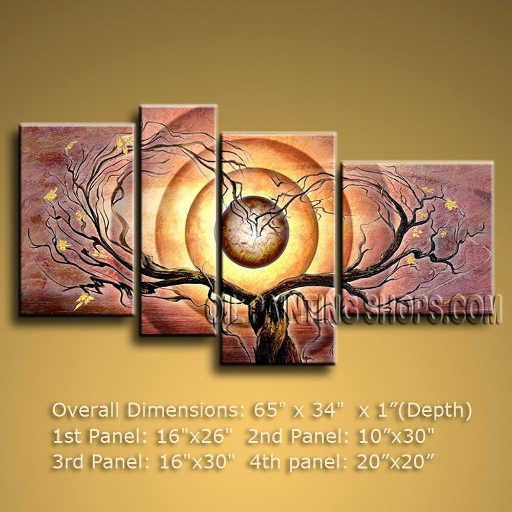 High Quality Large 4 Panels Canvas Wall Art Contemporary Tree 65\