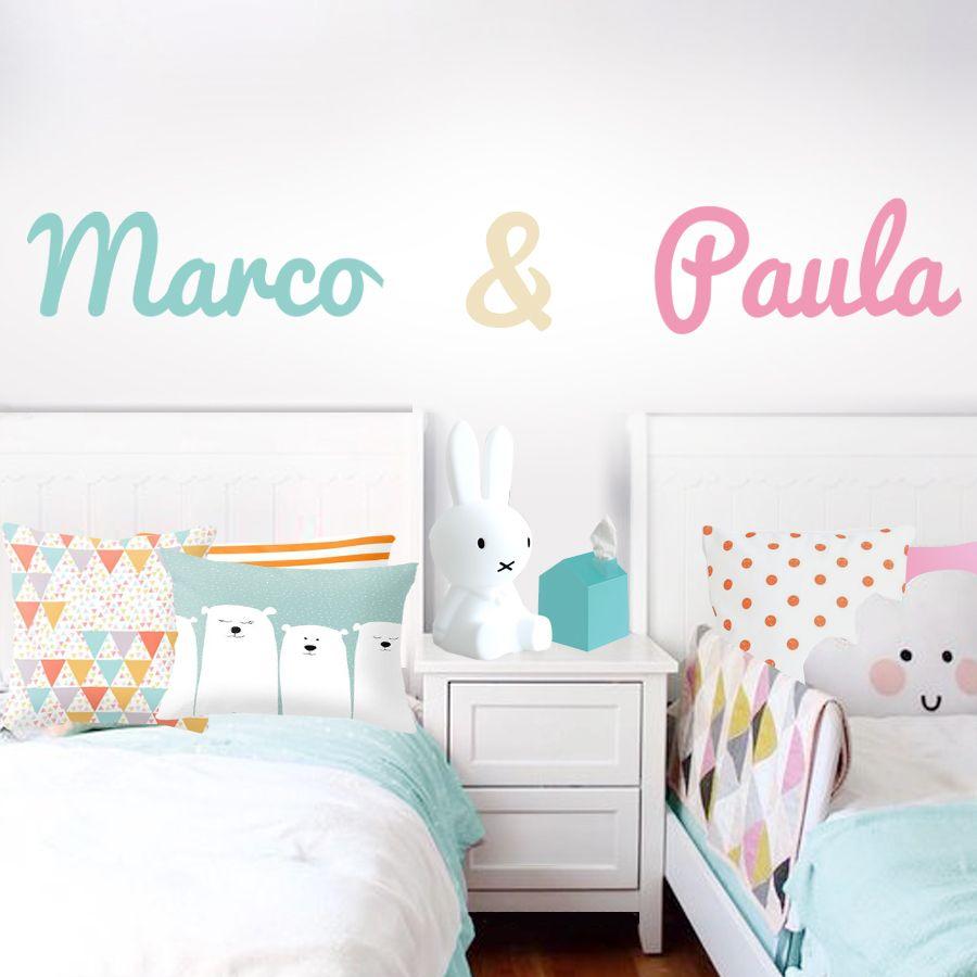 Vinilo infantil nombre gemelos habitacion habitaciones for Decoracion paredes habitacion bebe nina