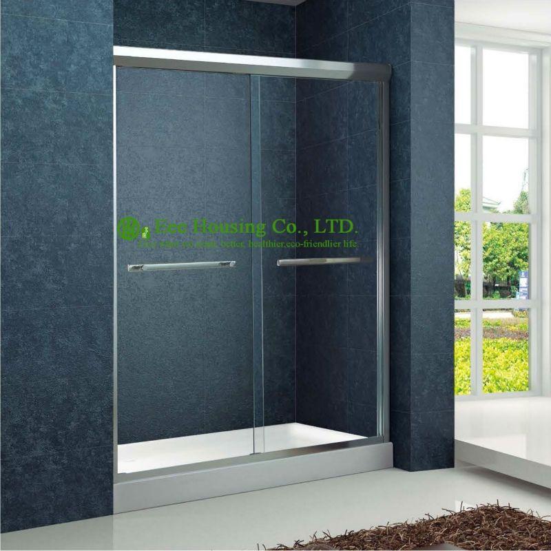 Shower Room Double Sliding Aluminium Bypass Shower Doorstempered