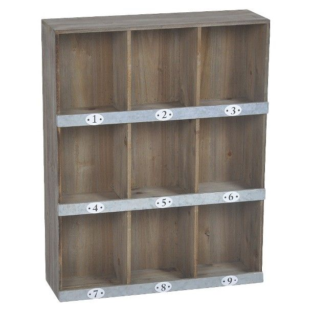 Wooden Wall Shelf 9 Slot Must Have Raw Wood Galvanized