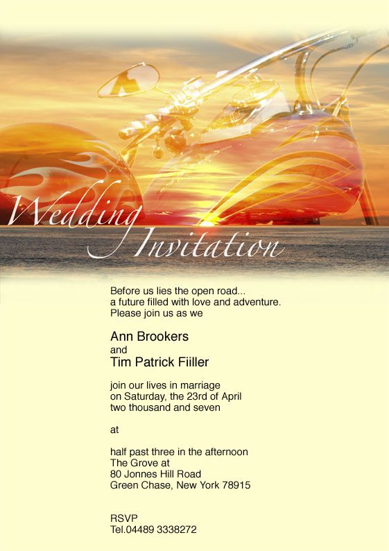 Harley Davidson Wedding Invitations Motorcycle