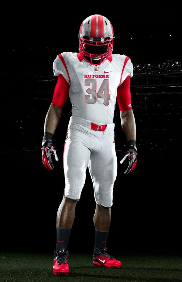 Rutgers Nike White On White Front Shot With Images College Football Uniforms Rutgers Football Football Helmets